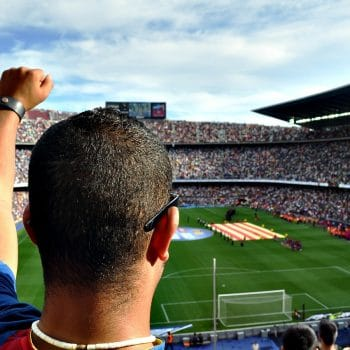 A football supporter chears as he watches a match in a sunny stadium