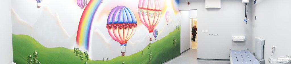 A Changing Places Toilet Wall showing blues skies and colourful balloons.