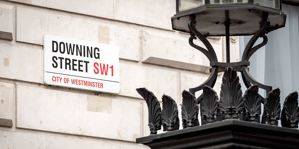 Downing Street, Westminster. Street sign for the official London address of the UK Prime Minister.
